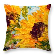 Sunny Day Sunflowers Throw Pillow by Barbara Pirkle