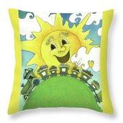 Sunny Day Train Throw Pillow