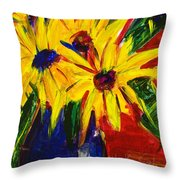 Sunny Flowers Throw Pillow