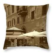 Sunny Italian Cafe - Sepia Throw Pillow