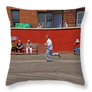 Sunny Morning On A Boardwalk In Brighton Beach  Throw Pillow