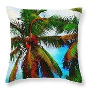 Sunny Palms Throw Pillow