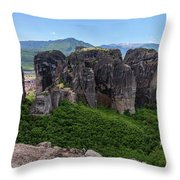 Sunny Panorama Of Greek Meteora Throw Pillow