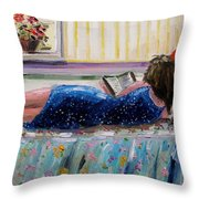 Sunny Reading Throw Pillow