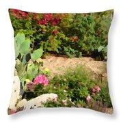 Sunny Rock Garden Throw Pillow