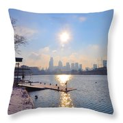 Sunny Schuylkill River In Winter Throw Pillow