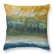 Sunny Side Beach Throw Pillow