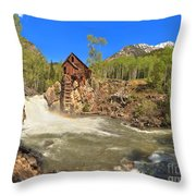 Sunny Skies Over The Crystal Mill Throw Pillow