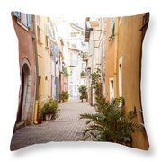 Sunny Street In Villefranche-sur-mer Throw Pillow