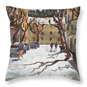 Sunny Street, Valledemossa Throw Pillow by David Gilmore