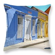 Sunny Street With Colored Houses - Cartagena-colombia Throw Pillow