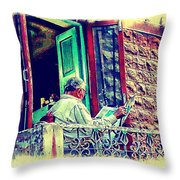 Sunny Sunday Morning Newspaper Vintage India Rajasthan Udaipur 2b Throw Pillow