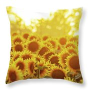 Sunny Sunflower Sunset Throw Pillow