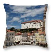 Sunny Tartini Square In Piran Slovenia With Government Building, Throw Pillow