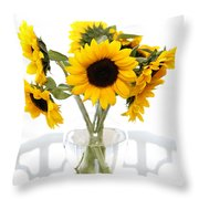 Sunny Vase Of Sunflowers Throw Pillow