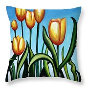 Sunny Yellow Tulips Throw Pillow