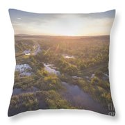 Sunraise Morning Summer Time Lake And Green Forest, In Poland  Throw Pillow