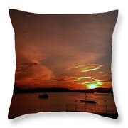 Sunraise Over Lake Throw Pillow