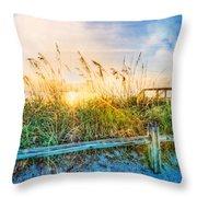 Sunrays On The Beach Throw Pillow
