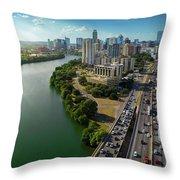 Sunrays Paint The Austin Skyline As Rush Hour Traffic Picks Up On I-35 Throw Pillow