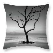 Sunrise And A Driftwood Tree In Black And White Throw Pillow