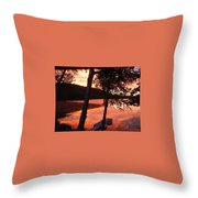 Sunrise And Birch Trees Throw Pillow