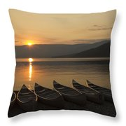 Sunrise And Canoes On Adams Lake Throw Pillow