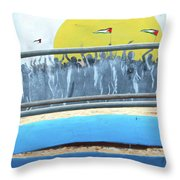 Sunrise And Flags Throw Pillow