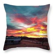 Sunrise And Horse Barn Throw Pillow
