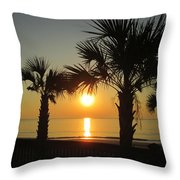Sunrise And Palms Throw Pillow