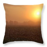 Sunrise And The Cotton Field Throw Pillow