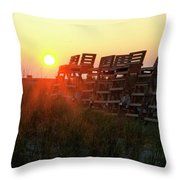 Sunrise And The Lifeguard Chairs  Throw Pillow