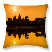 Sunrise At Angkor Wat Throw Pillow by Yew Kwang