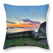 Sunrise At Castle Rock Marblehead Ma Rocky Coast Throw Pillow