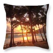 Sunrise At Catseye Beach Throw Pillow