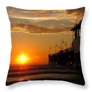 Sunrise At Daytona Beach Pier  004 Throw Pillow