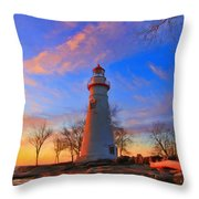 Sunrise At Marblehead Lighthouse Panorama Throw Pillow