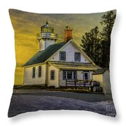Sunrise At Mission Point Light Throw Pillow