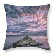 Sunrise At Mumbles Lighthouse Throw Pillow