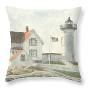 Sunrise At Nubble Light Throw Pillow by Dominic White