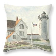 Sunrise At Nubble Light Throw Pillow
