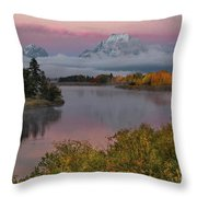 Sunrise At Oxbow Bend Throw Pillow