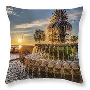 Sunrise At Pineapple Fountain Throw Pillow