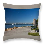 Sunrise At Ringling Bridge Throw Pillow