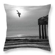 Sunrise At Saint Augustine Pier Throw Pillow