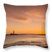 Sunrise At St Mary's Lighthouse Throw Pillow