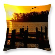 Sunrise At The Boat Launch  Throw Pillow