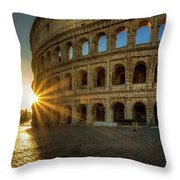 Sunrise At The Colosseum Throw Pillow