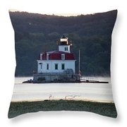 Sunrise At The Esopus Lighthouse Throw Pillow