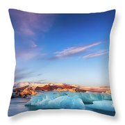 Sunrise At The Iceberg Lagoon Throw Pillow